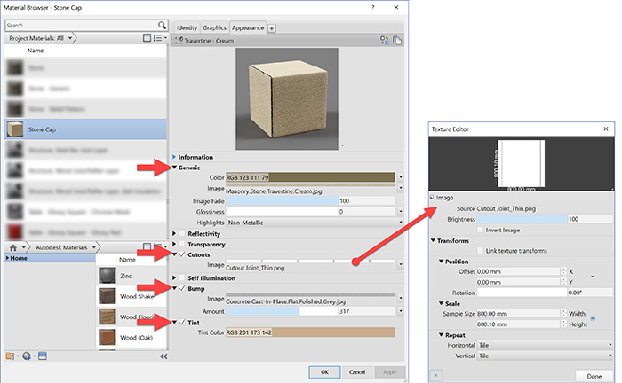 Apply cutout image to define joints