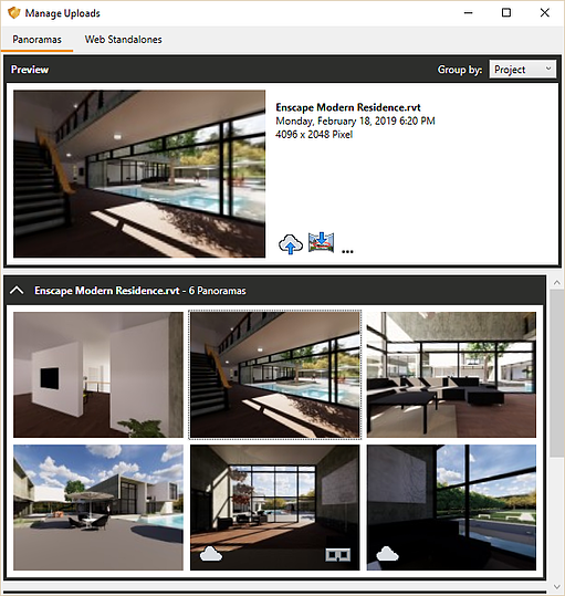 Get an overview of your created panoramas in the Manage Panoramas window