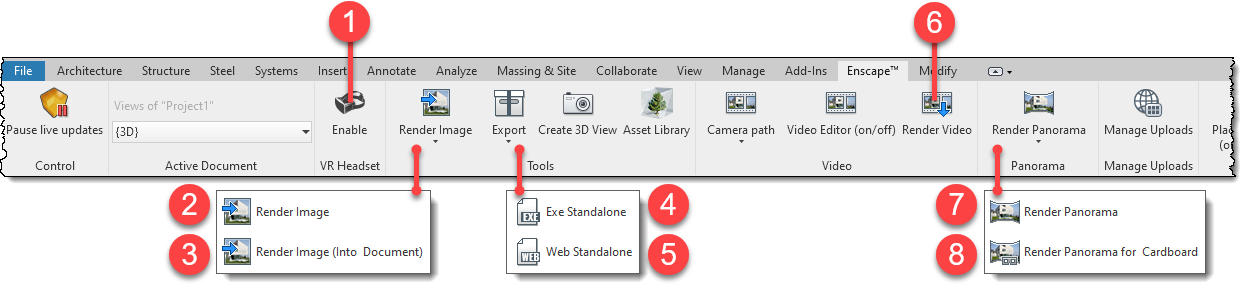 Enscape Export Options - Revit Ribbon