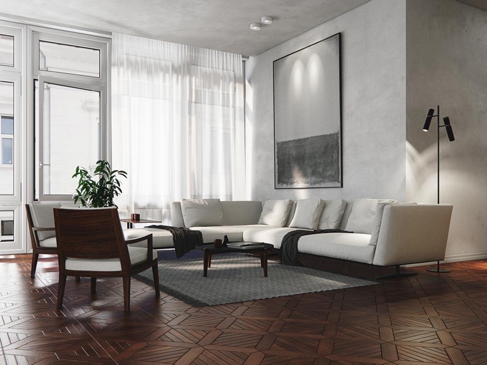 Interior render with depth