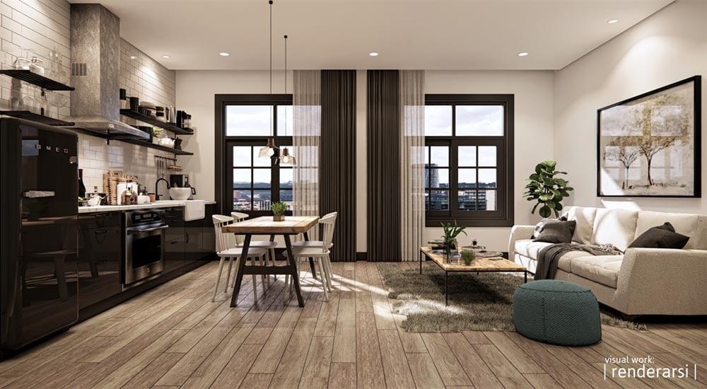 Interior rendering example