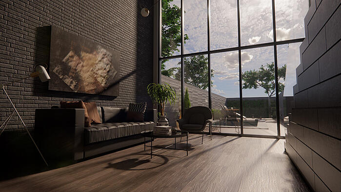 Interior rendering with assets