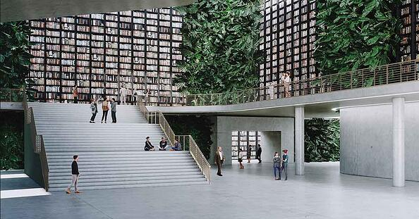 Render of large modern library