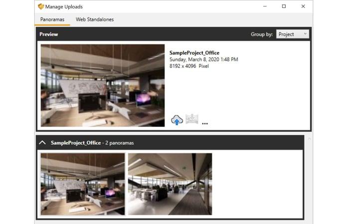 Manage Uploads - Panoramas - Office
