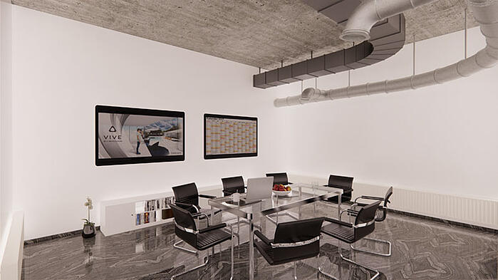 Office interior rendered in Enscape