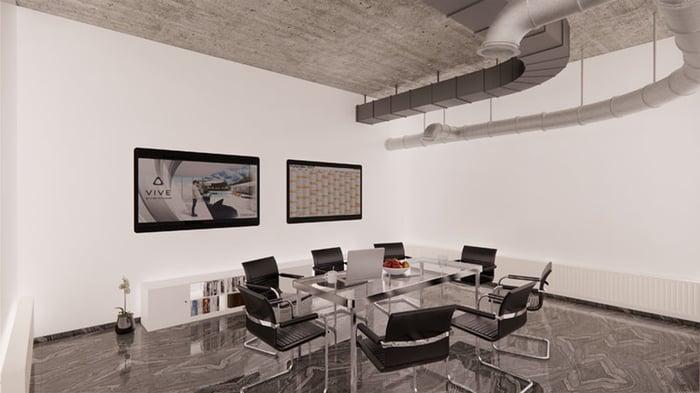 Rendu de l'aménagement intérieur d'un bureau dans Enscape