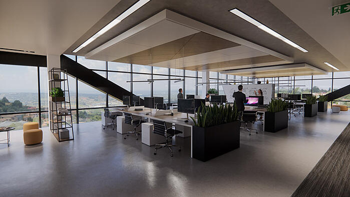 Office render with skybox