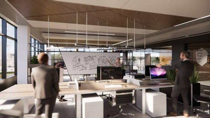 Espace de bureaux rendu dans Enscape et Revit avec paramètres d'éclairage standard
