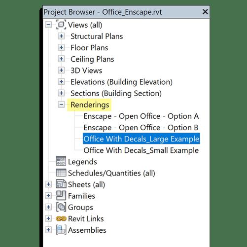 Revit Project Browser Renderings