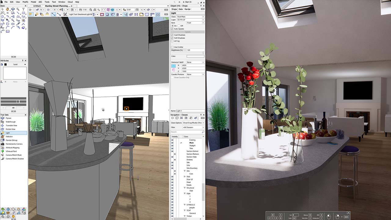 User Interface Vectorworks and Enscape