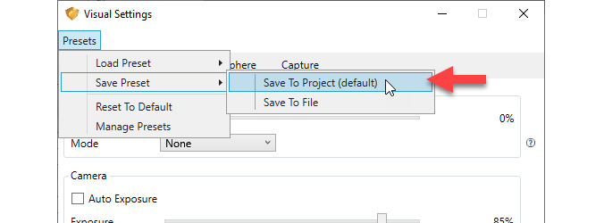 Visual settings save to project