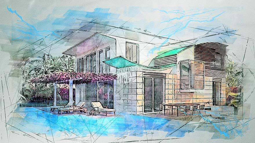 architectural rendering by hand