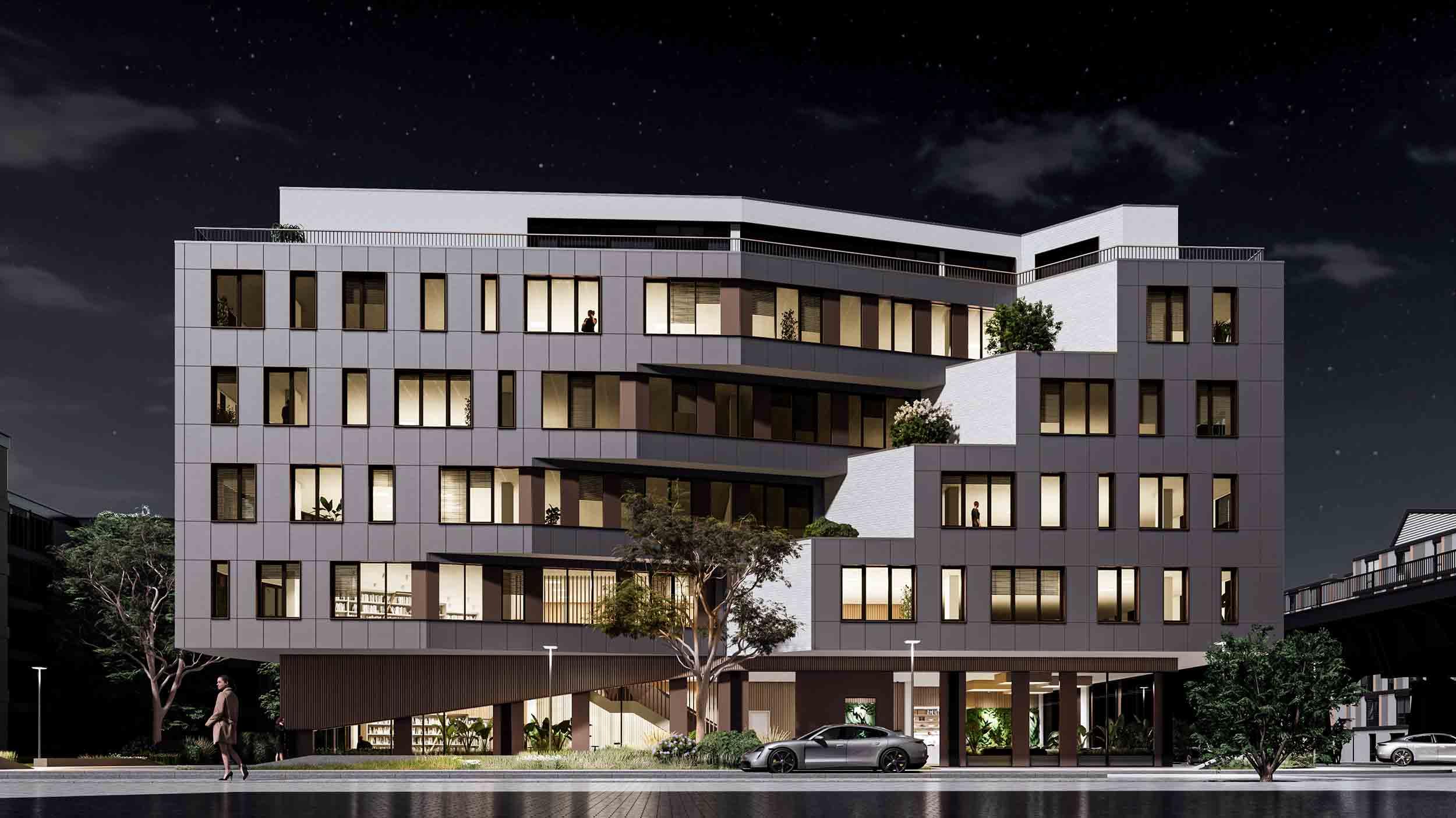 External building night render