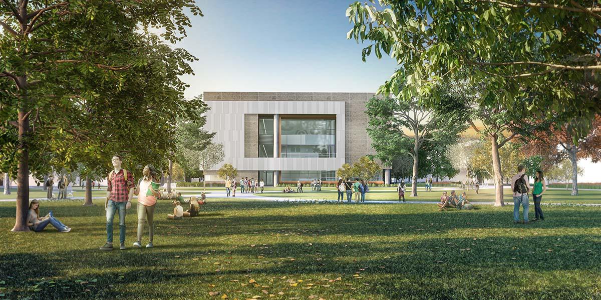 Landscape render university building